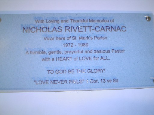 Nicholas' plaque