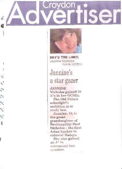 Jannine in Croydon Advertiser