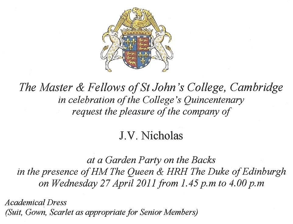 Invitation to see Queen at St John's College